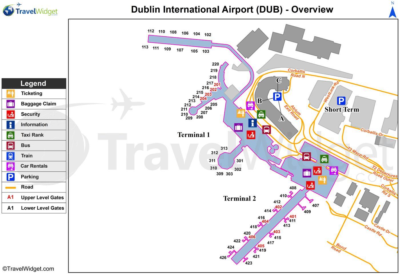Dublinin Lentokentta Kartta Kartta Dublin Airport Irlanti
