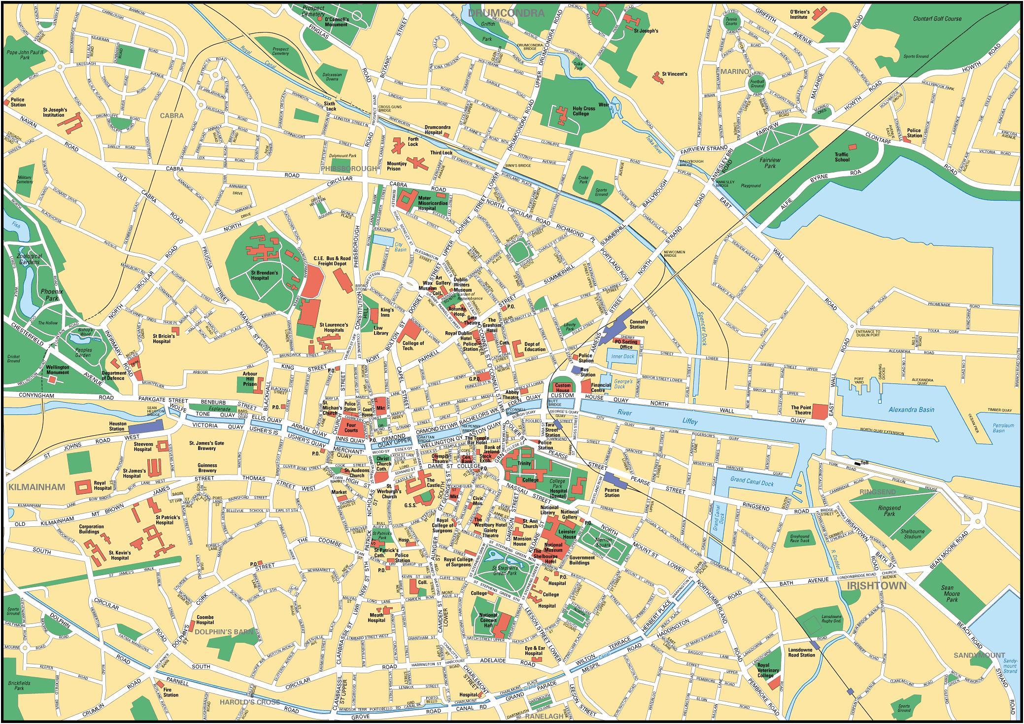 Kartta Dublin Irlanti Dublinin Keskustan Kartta Irlanti